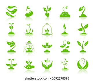 Sprout green silhouette icons set. Web sign kit of seeds. Plant monochrome pictogram collection includes flower, grass, tree. Simple sprout symbol with reflection. Vector Icon shape isolated on white