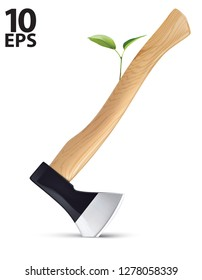 Sprout grows from an axe isolated, save earth concept. Creative vector 3d illustration