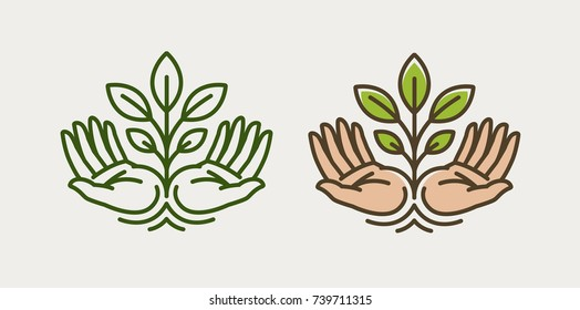 Sprout in hand. Agriculture, farming logo or symbol. Ecology, environmental protection, natural, organic icon. Vector illustration