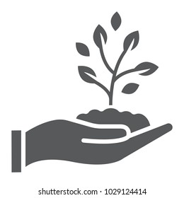 Sprout in hand glyph icon, farming and agriculture, plant care sign vector graphics, a solid pattern on a white background, eps 10.