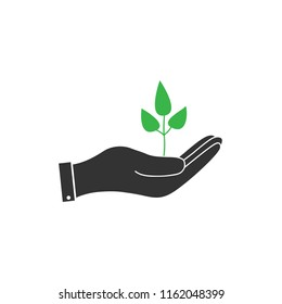 Sprout in hand icon, plant in hand icon.