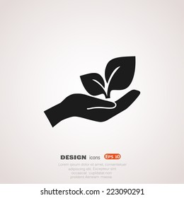 sprout in a hand sign of environmental protection, web icon. vector design
