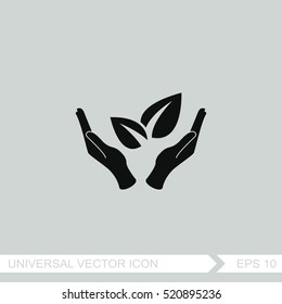 Sprout in hand sign of environmental protection vector icon.