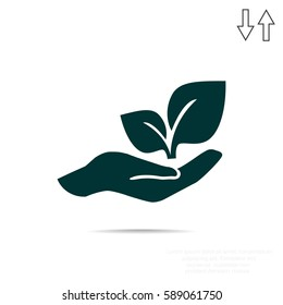 sprout in a hand sign of environmental protection, web icon. vec