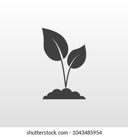 Sprout icon on gray background.