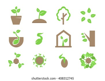 Sprout icon set. Plant and sprout growing icons flat design vector
