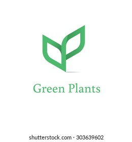 Sprout mockup eco logo, green leaf seedling, growing plant. Abstract design concept for eco technology theme. Ecology icon.