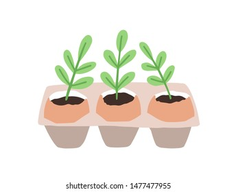 Sprouts or seedlings growing in pots or planters isolated on white background. Plant germination and growth, houseplant cultivation, home gardening. Flat cartoon colorful vector illustration.