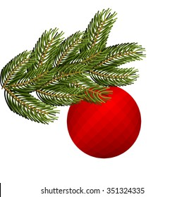 Spruce branch and Christmas tree toy. Red holiday ball. FIR green bough. lush conifer.