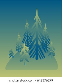 Spruce forest on hill, hill with fir trees, fog, twilight, decoration, dark green hand-drawing vector. Flat illustration