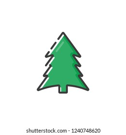 Spruce icon in a flat design. Vector illustration