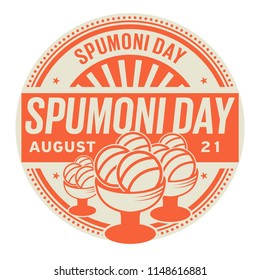 Spumoni Day, August 21, rubber stamp, vector Illustration