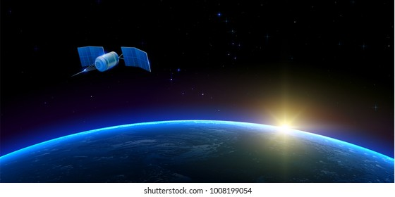 Sputnik flying in outer space above the Earth and Sun on the background. Realistic vector illustration.