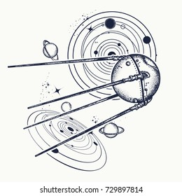 Sputnik space ship tattoo and t-shirt design. Universe research. Symbol of space expedition, science, future, research of solar system