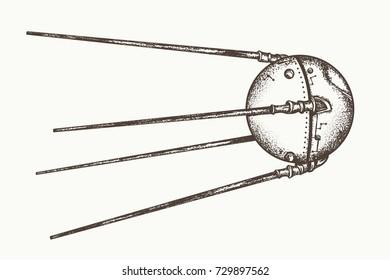 Sputnik vector. Earth satellite sputnik, hand drawn