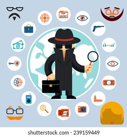 Spy with accessories icons. Spy in the black coat and hat with a magnifying glass and briefcase. Vector illustration