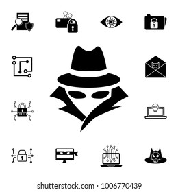 Spy, agent icon. Set of cybersecurity icons. Signs, outline symbols collection, simple icons for websites, web design, mobile app, info graphics on white background
