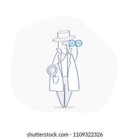 Spy, Agent, Inspector, Investigator, Detective character in cute hat with magnifying glass, sleuthing, disguising, investigate. Flat outline vector illustration concept.