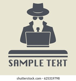 Spy agent searching on laptop. Spy icon or sign symbol. Man in hat, vector illustration