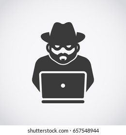 Spy agent searching on laptop. Hacker. Robber icon. Bandit.