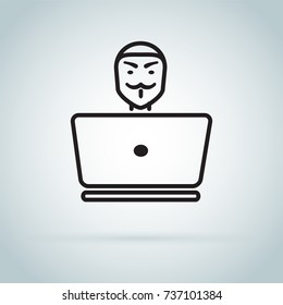 Spy agent searching on laptop. Hacker. Anonymous secret agent, hacker. Mysterious man in the mask on white background. Secret service agent icon. Incognito. undercover.