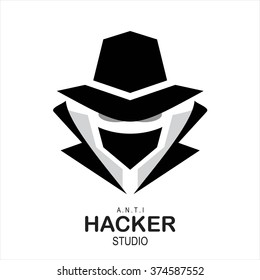 spy agent, secret agent, hacker. Mysterious man in black suit with the mask on white background. Secret service agent icon. Incognito. undercover.