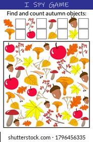 I spy autumn objects - educational game for kids. Math worksheet for kindergarten, school, preschool. Development of numeracy skills and attention.