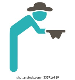 Spy Beggar vector icon. Style is bicolor flat symbol, grey and cyan colors, rounded angles, white background.