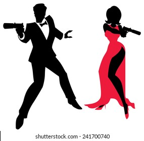 Spy Couple: Silhouettes of spy couple over white background. No transparency and gradients used.