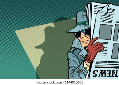 Spy detective in hat and sunglasses, newspaper. Comic cartoon pop art retro vector illustration drawing