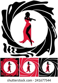 Spy Female: Silhouette of female secret agent. Illustration is in 4 versions. No transparency and gradients used.