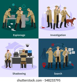 Spy flat concept with detectives dressed in brown coat and involving in different professional situations vector illustration