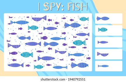 I spy game. Childrens educational fun. Count how many elements. Hand drawn cartoon flat fishes with decoration. Happy fishing. Vector template for preschool games.