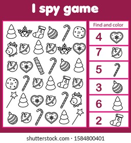 I spy game. Find, color and count. Christmas and new year holidays theme activity for kids, toddlers. Educational page for children
