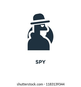 Spy icon. Black filled vector illustration. Spy symbol on white background. Can be used in web and mobile.