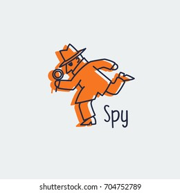 spy icon, detective, logo design, anonymous secret agent, isolated vector illustration