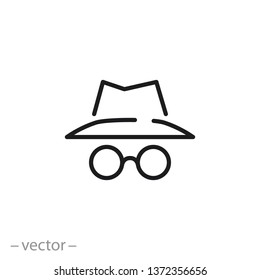 spy icon, secret agent, incognito line sign on white background - editable stroke vector illustration eps10