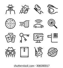 Spy icon set. Included the icons as hidden camera, illegal, secret, hack, undercover agent , detective and more.