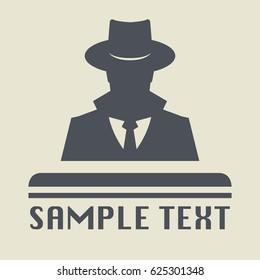 Spy icon or sign symbol. Man in hat, vector illustration