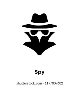 Spy icon vector isolated on white background, logo concept of Spy sign on transparent background, filled black symbol