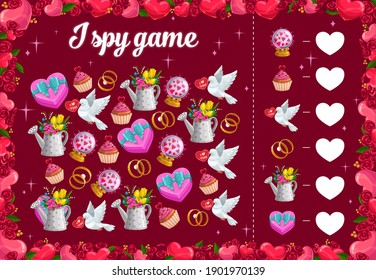 I spy kids game with Valentines day items, vector educational puzzle. Development of numeracy skills and attention, cartoon riddle page. Math worksheet for kindergarten, school, preschool children