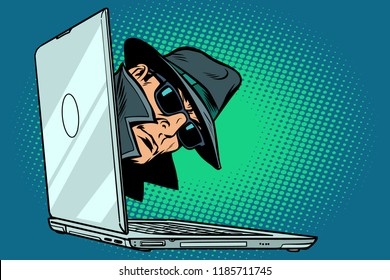 spy. laptop computer. surveillance and hacking. Comic cartoon pop art retro vector illustration