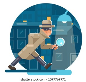 Spy magnifying glass mask detective cartoon character walk night city street background flat design vector illustration