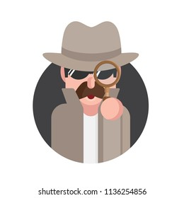 Spy man character isolated on white background. Detective character  with magnifying glass. Vector stock.