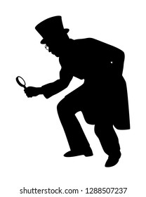 Spy man with magnifying glass silhouette vector