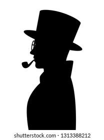 Spy man silhouette vector