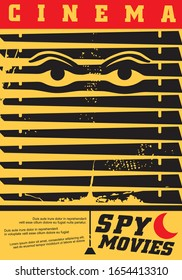 Spy movies cinema festival creative idea for poster design with eyes looking through the shutters. Comics style graphics for film night for action or thriller genre. Entertainment vector illustration