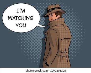Spy in raincoat and hat pop art retro vector illustration. Text bubble. Comic book style imitation.