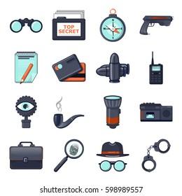 Spy or secret agent arrested icons set. Cartoon illustration of 16 spy or secret agent arrested vector icons logo isolated on white background