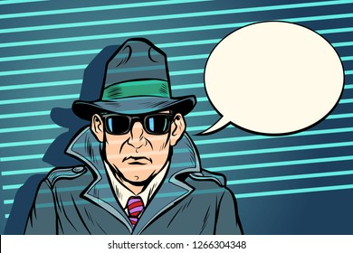 spy secret agent. Comic cartoon pop art retro vector illustration drawing